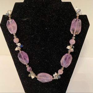 NECKLACE PURPLE FACETED STONES CRYSTALS SILVER 925